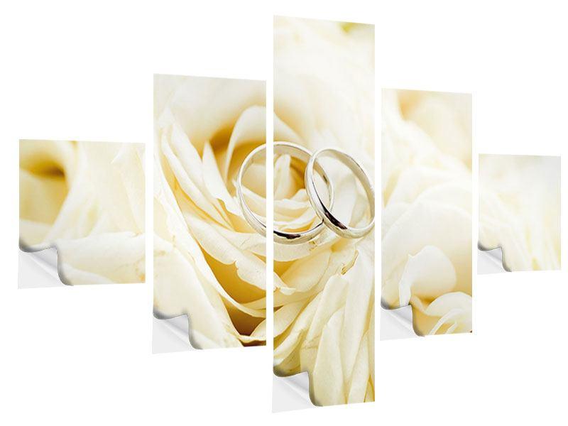 Klebeposter 5-teilig Trauringe auf Rosen gebettet