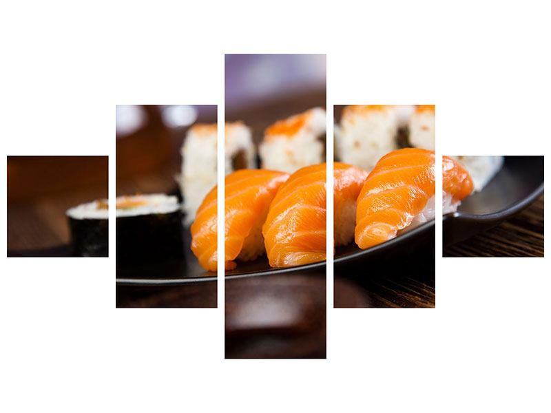 Klebeposter 5-teilig Sushi-Gericht