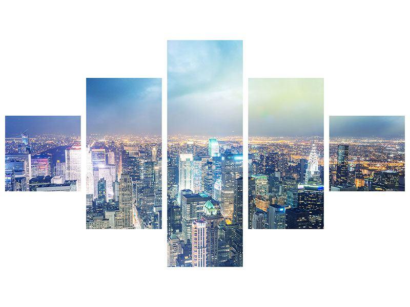 Klebeposter 5-teilig Skyline NY bei Sonnenuntergang