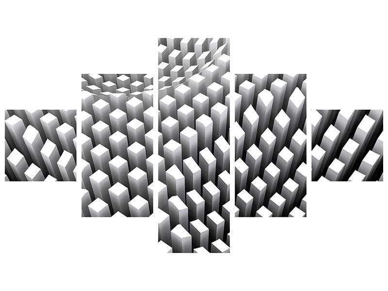 Klebeposter 5-teilig 3D-Rasterdesign