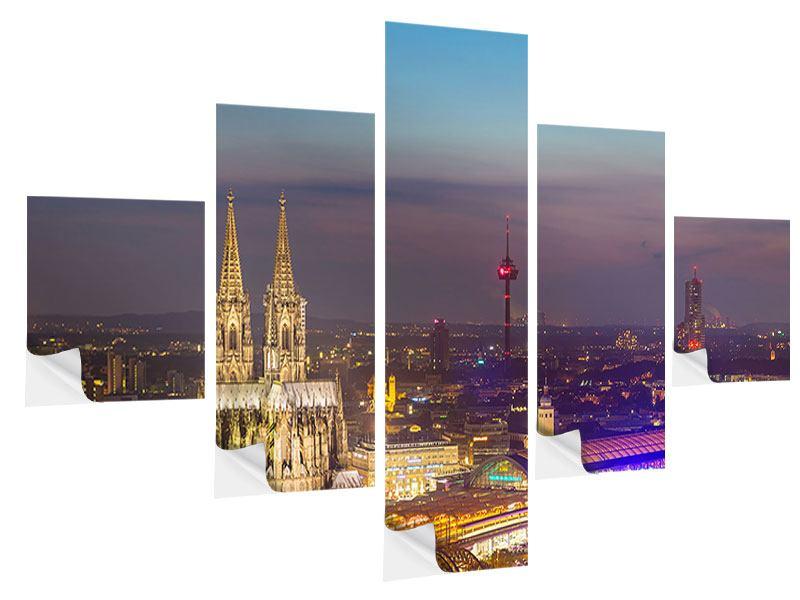 Klebeposter 5-teilig Skyline Kölner Dom bei Nacht