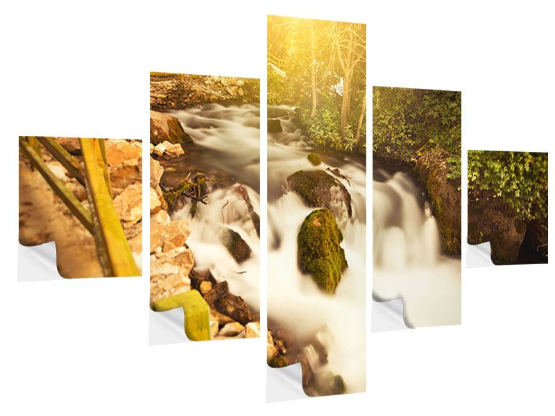 Klebeposter 5-teilig Sonnenuntergang am Wasserfall
