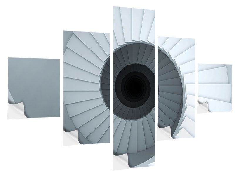 Klebeposter 5-teilig 3D Wendeltreppe