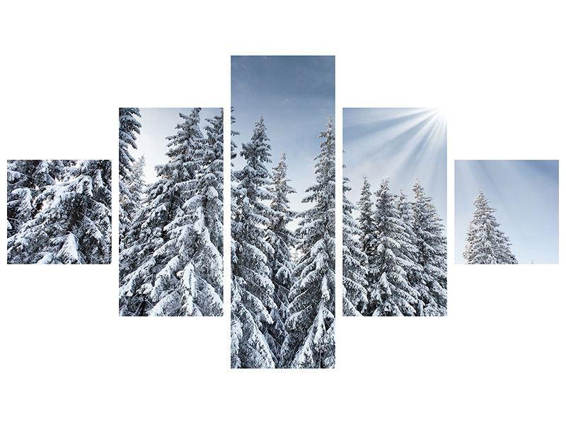 Klebeposter 5-teilig Wintertannen