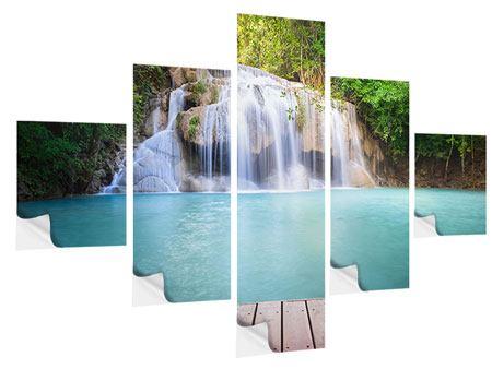 Klebeposter 5-teilig Terrasse am Wasserfall