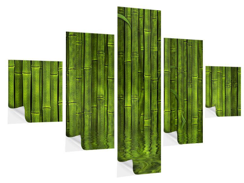 Klebeposter 5-teilig Wasserspiegelung Bambus