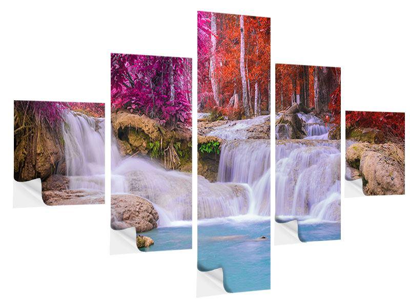Klebeposter 5-teilig Paradiesischer Wasserfall