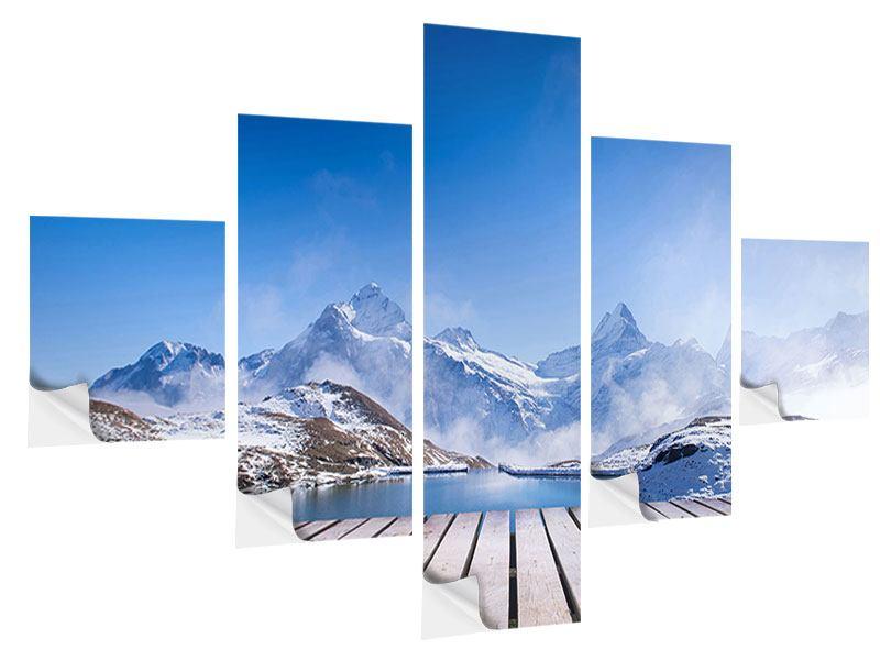 Klebeposter 5-teilig Sonnenterrasse am Schweizer Bergsee