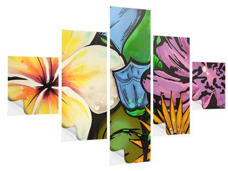 Klebeposter 5-teilig Graffiti Flowers