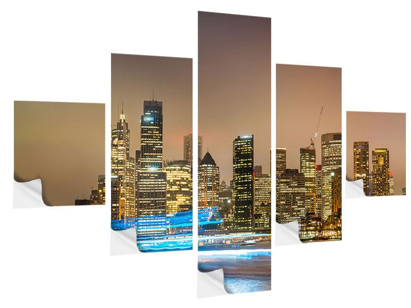 Klebeposter 5-teilig Skyline Sydney im Lichtermeer