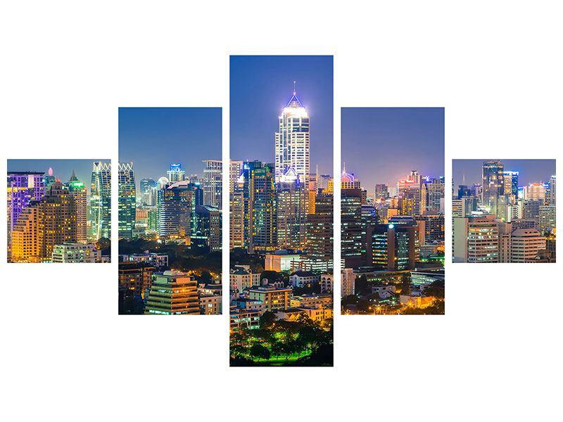 Klebeposter 5-teilig Skyline One Night in Bangkok