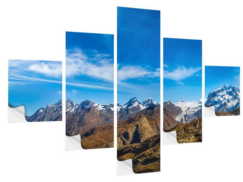 Klebeposter 5-teilig Schweizer Alpen im Frühling