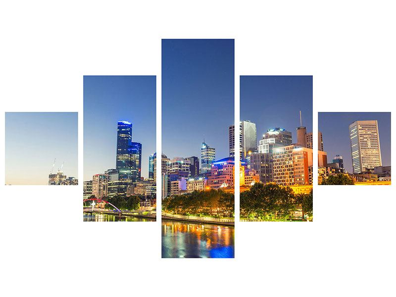 Klebeposter 5-teilig Skyline Sydney in der Abenddämmerung