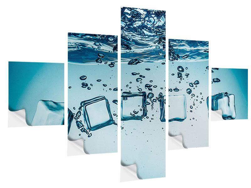 Klebeposter 5-teilig Eiswürfel-Quadro