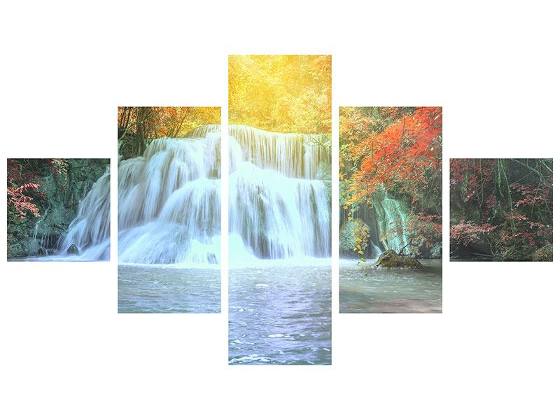 Klebeposter 5-teilig Wasserfall im Licht