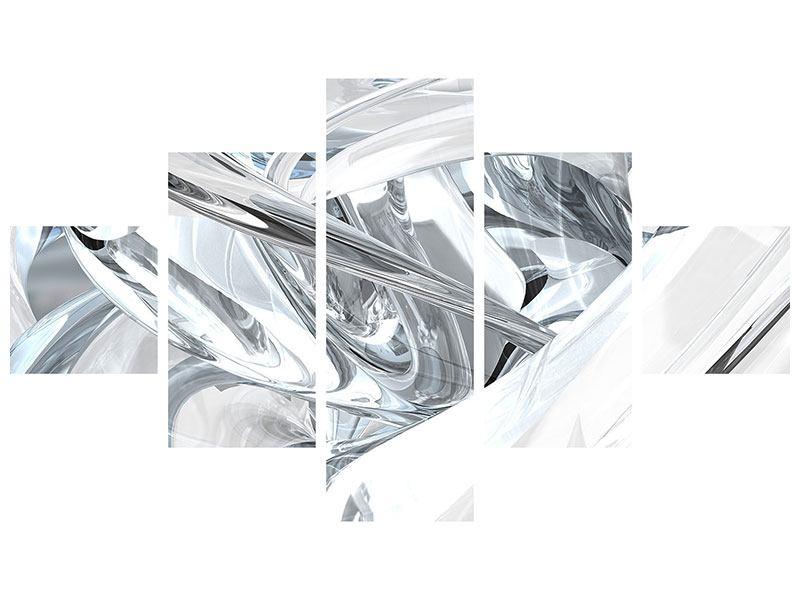 Klebeposter 5-teilig Abstrakte Glasbahnen
