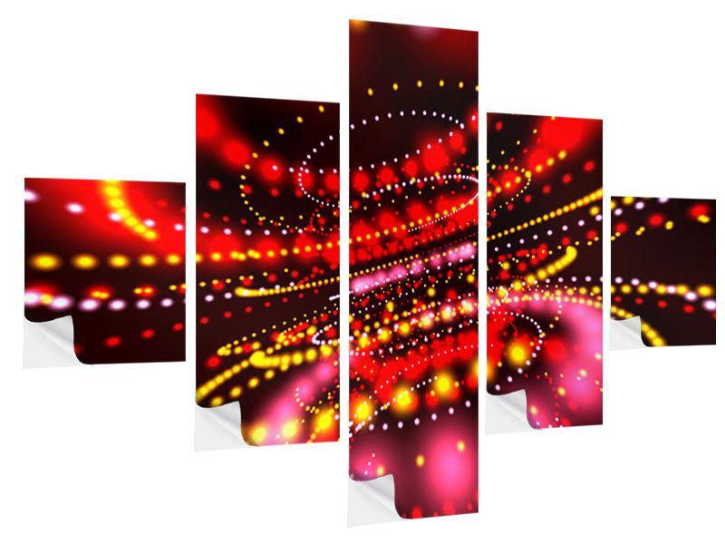 Klebeposter 5-teilig Abstraktes Lichtspiel