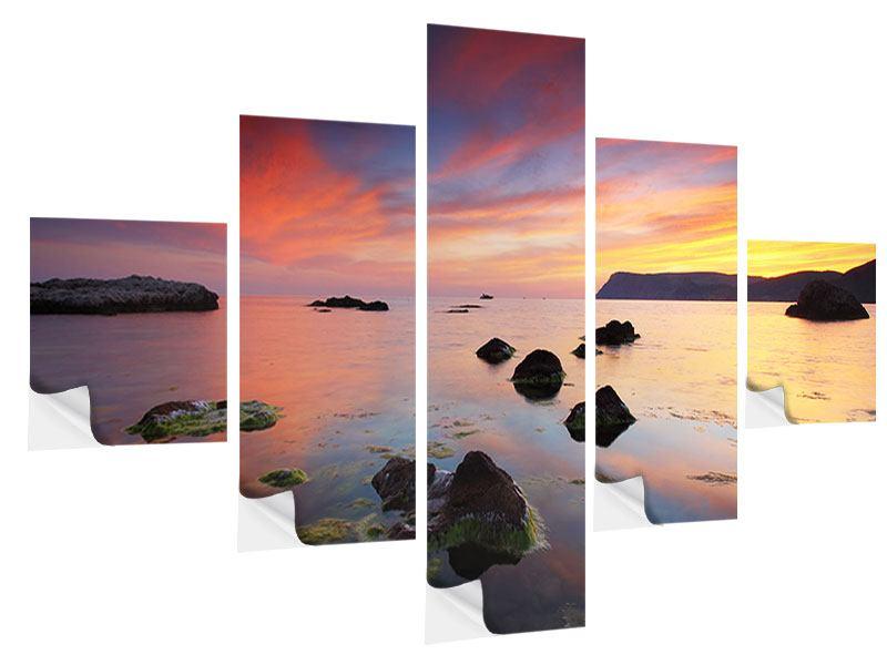 Klebeposter 5-teilig Ein Sonnenuntergang am Meer
