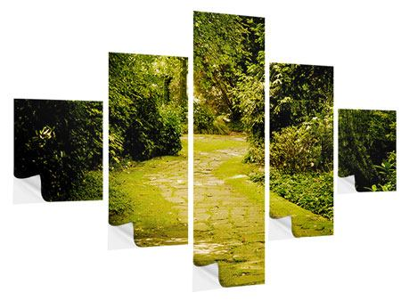 5 Piece Self-Adhesive Poster Moss-Covered Path