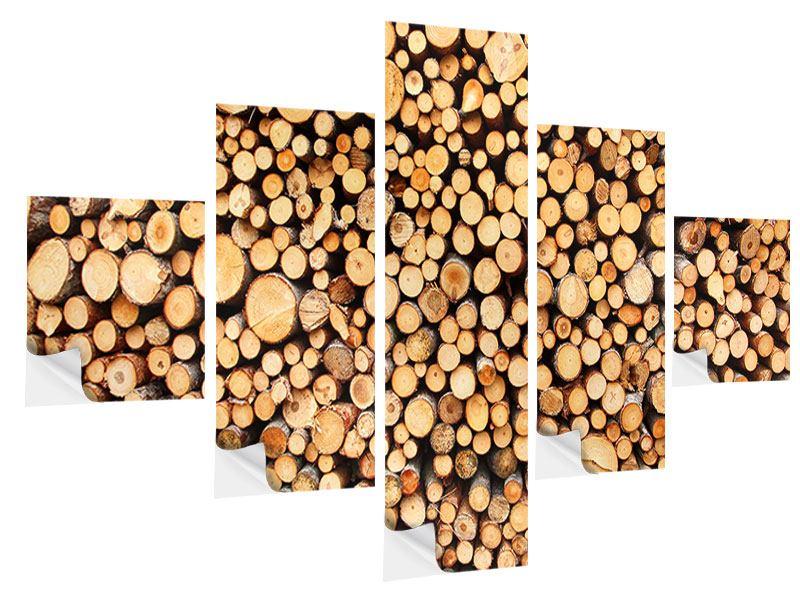 Klebeposter 5-teilig Holzstämme