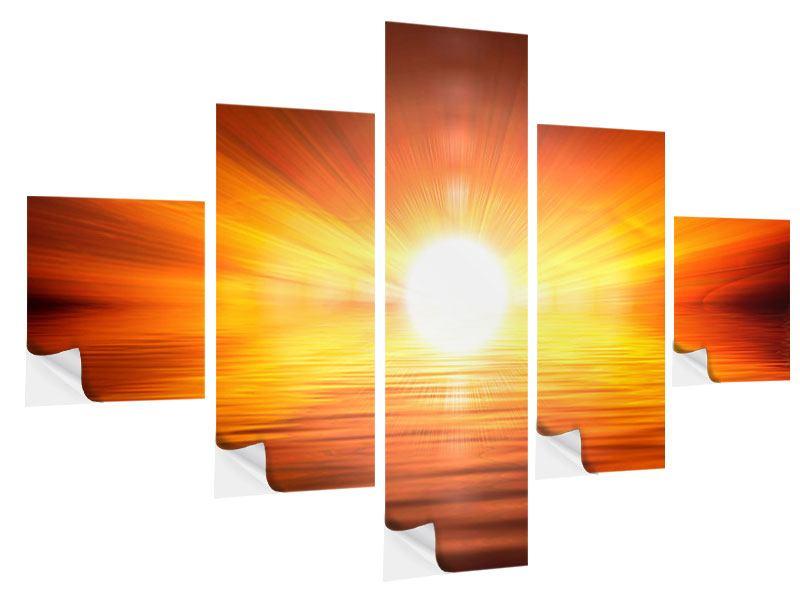 Klebeposter 5-teilig Glühender Sonnenuntergang