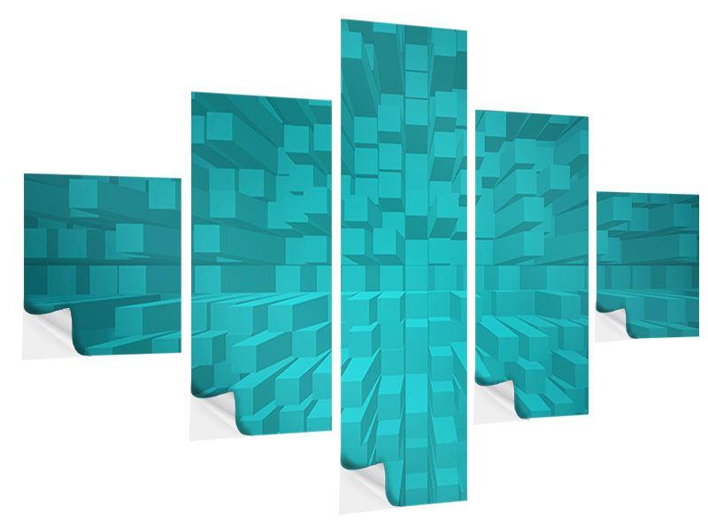 Klebeposter 5-teilig 3D-Kubusse
