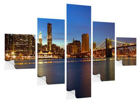 Klebeposter 5-teilig Skyline Manhattan im Lichtermeer