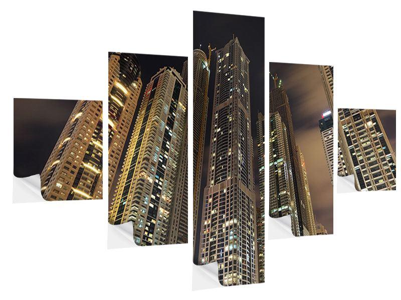 Klebeposter 5-teilig Wolkenkratzer Dubai Marina