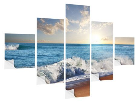 Klebeposter 5-teilig Die Wellen des Meeres