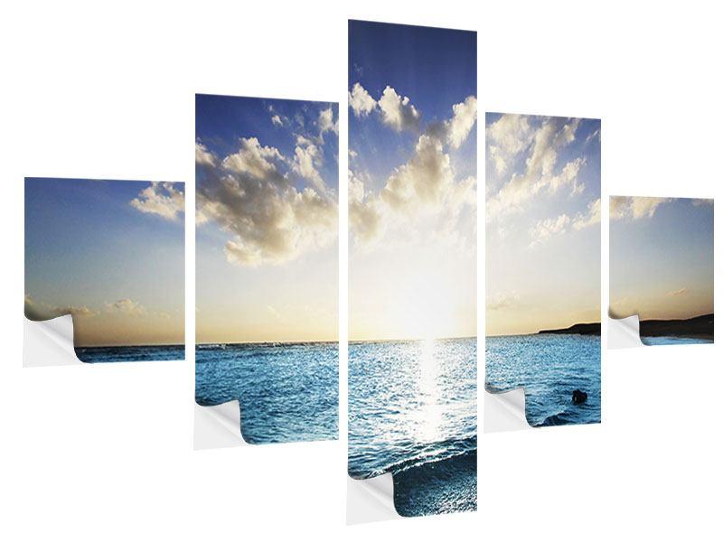 Klebeposter 5-teilig Das Meer im Sonnenaufgang