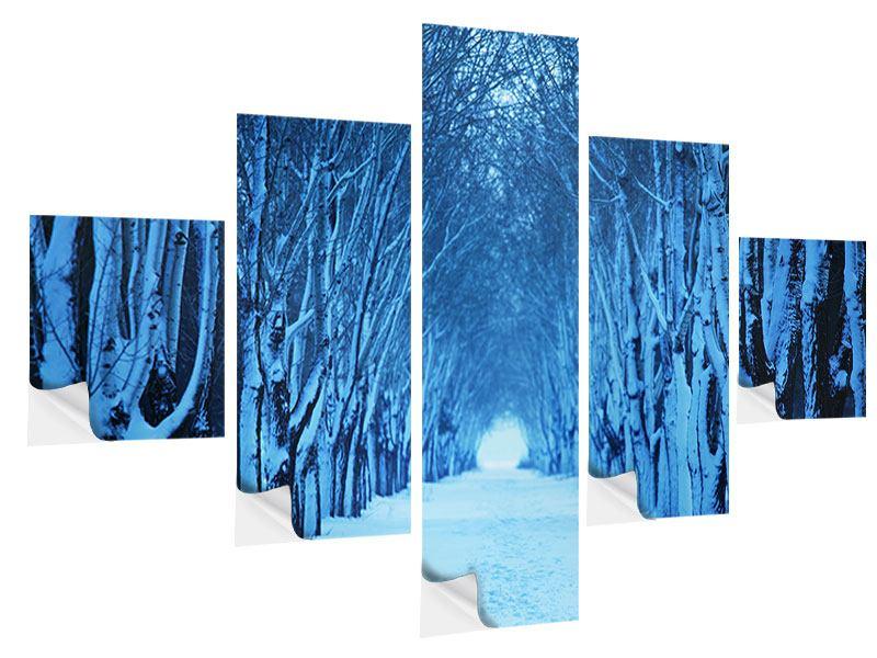 Klebeposter 5-teilig Winterbäume