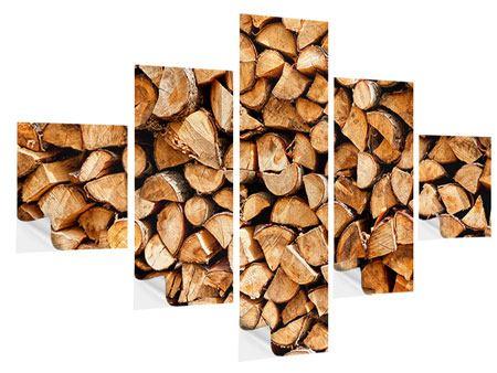 Klebeposter 5-teilig Gestapeltes Holz