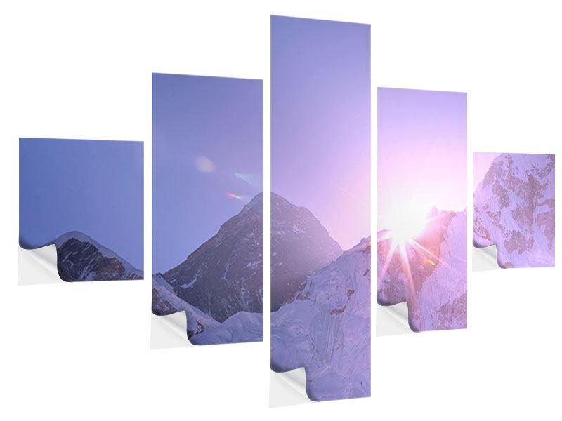 Klebeposter 5-teilig Sonnenaufgang beim Mount Everest