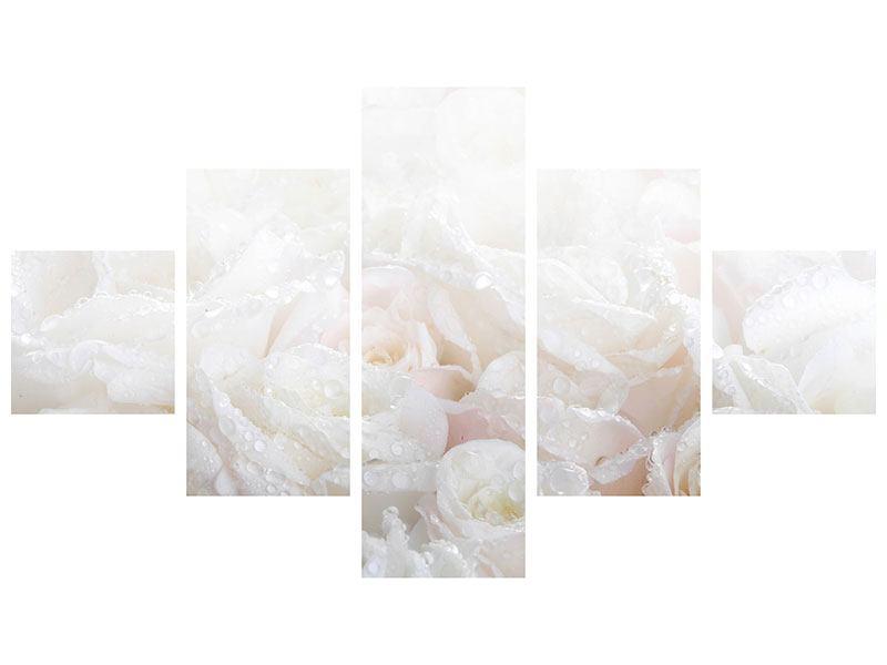 Klebeposter 5-teilig Weisse Rosen im Morgentau