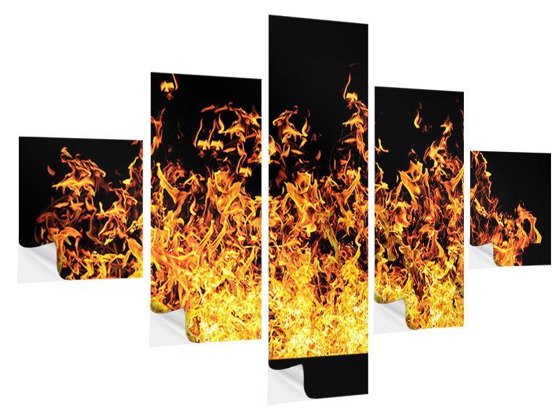 Klebeposter 5-teilig Moderne Feuerwand