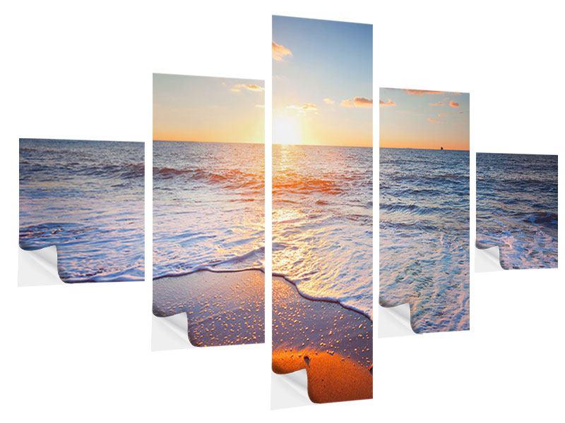 Klebeposter 5-teilig Sonnenuntergang am Horizont