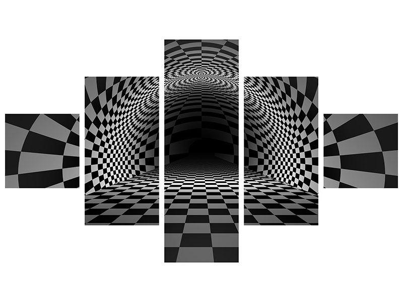 Klebeposter 5-teilig Abstraktes Schachbrett