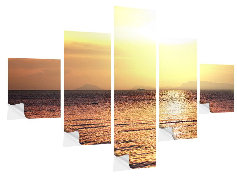 Klebeposter 5-teilig Sonnenuntergang an der See