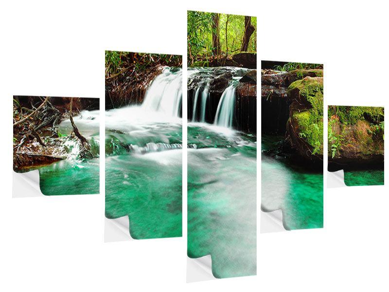 Klebeposter 5-teilig Der Fluss am Wasserfall