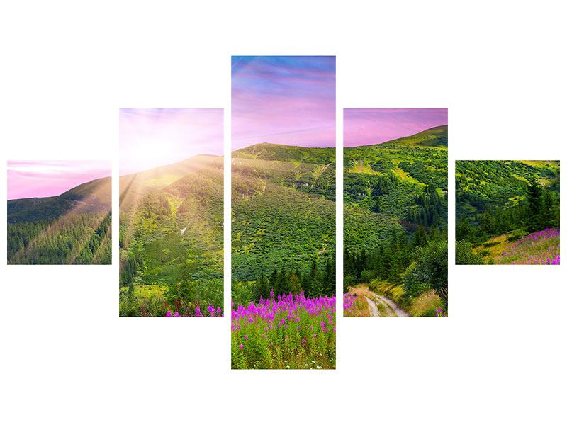 5 Piece Self-Adhesive Poster A Summer Landscape At Sunrise