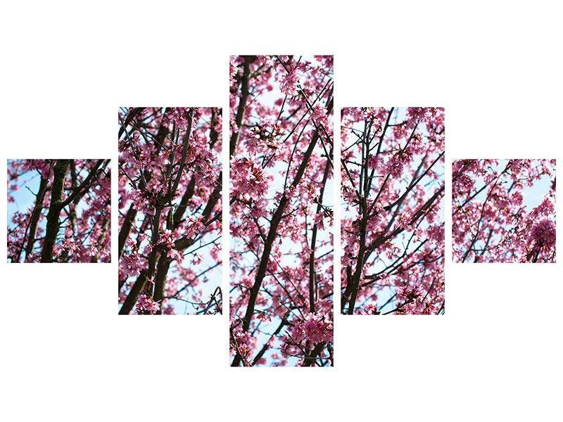 Klebeposter 5-teilig Japanische Blütenkirsche