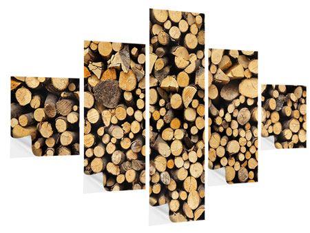Klebeposter 5-teilig Brennholz