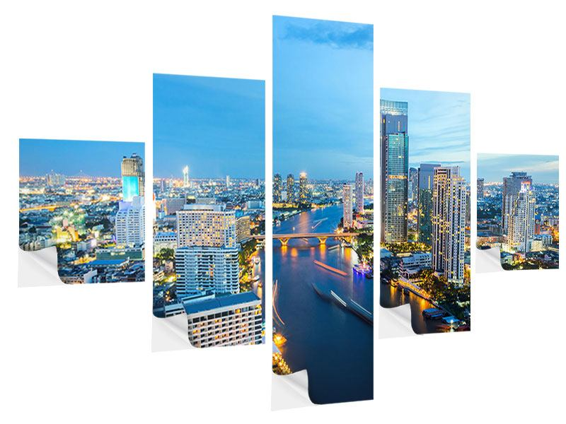 Klebeposter 5-teilig Skyline Bangkok in der Abenddämmerung