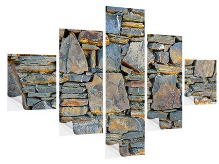 Klebeposter 5-teilig Natürliche Steinmauer