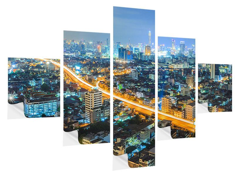Klebeposter 5-teilig Skyline Bangkok im Fieber der Nacht