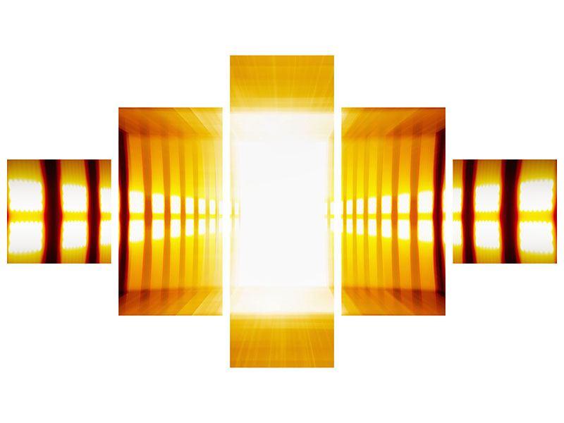 Klebeposter 5-teilig Abstrakter Goldener Raum