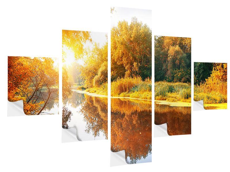 Klebeposter 5-teilig Waldspiegelung im Wasser