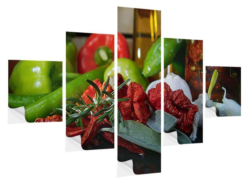 Klebeposter 5-teilig Mediterranes Gemüse