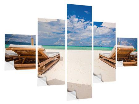 Klebeposter 5-teilig Liegen am Strand