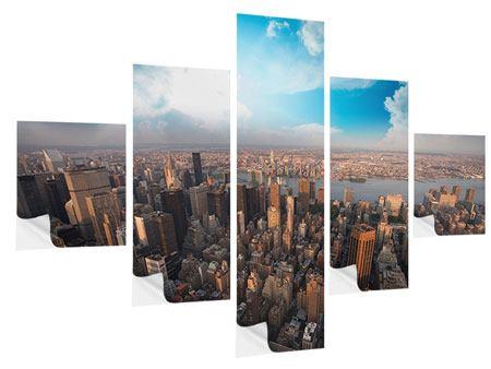 Klebeposter 5-teilig Skyline Über den Dächern von Manhattan